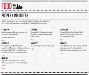 By Rons burger menu.